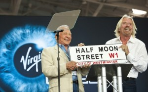Branson and Aldrin with Half Moon Street sign