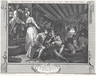 William_Hogarth_-_Industry_and_Idleness,_Plate_9;_The_Idle_'Prentice_betrayed_and_taken_in_a_Night-Cellar_with_his_Accomplice